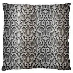 Patterns Wavy Background Texture Metal Silver Large Cushion Case (one Side) by Simbadda