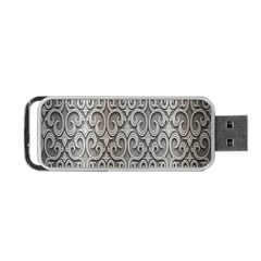 Patterns Wavy Background Texture Metal Silver Portable Usb Flash (two Sides) by Simbadda
