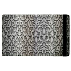 Patterns Wavy Background Texture Metal Silver Apple Ipad 2 Flip Case by Simbadda