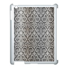 Patterns Wavy Background Texture Metal Silver Apple Ipad 3/4 Case (white) by Simbadda