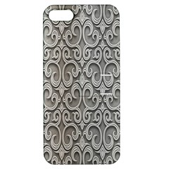 Patterns Wavy Background Texture Metal Silver Apple Iphone 5 Hardshell Case With Stand by Simbadda