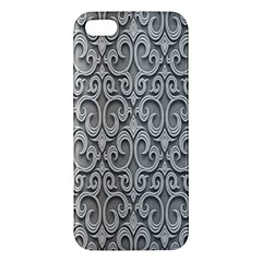 Patterns Wavy Background Texture Metal Silver Apple Iphone 5 Premium Hardshell Case by Simbadda