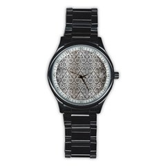 Patterns Wavy Background Texture Metal Silver Stainless Steel Round Watch by Simbadda