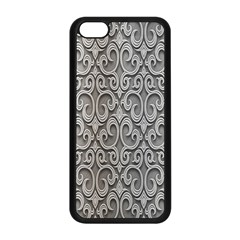Patterns Wavy Background Texture Metal Silver Apple Iphone 5c Seamless Case (black) by Simbadda