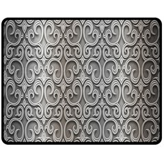 Patterns Wavy Background Texture Metal Silver Double Sided Fleece Blanket (medium)  by Simbadda
