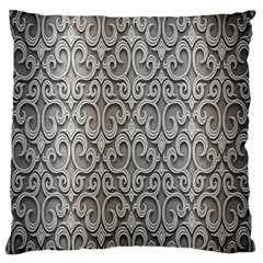Patterns Wavy Background Texture Metal Silver Large Flano Cushion Case (two Sides) by Simbadda