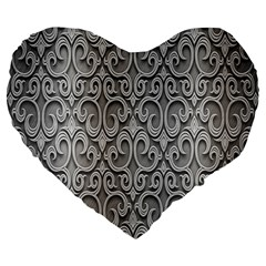 Patterns Wavy Background Texture Metal Silver Large 19  Premium Flano Heart Shape Cushions by Simbadda