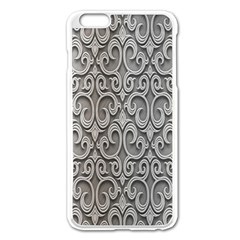 Patterns Wavy Background Texture Metal Silver Apple Iphone 6 Plus/6s Plus Enamel White Case by Simbadda