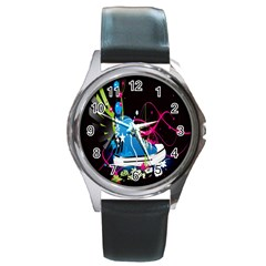 Sneakers Shoes Patterns Bright Round Metal Watch by Simbadda
