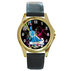Sneakers Shoes Patterns Bright Round Gold Metal Watch by Simbadda