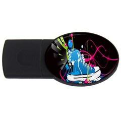 Sneakers Shoes Patterns Bright Usb Flash Drive Oval (2 Gb) by Simbadda