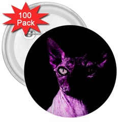 Pink Sphynx Cat 3  Buttons (100 Pack)  by Valentinaart