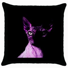 Pink Sphynx Cat Throw Pillow Case (black) by Valentinaart