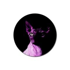 Pink Sphynx Cat Rubber Coaster (round)  by Valentinaart