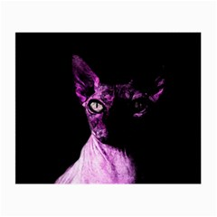 Pink Sphynx Cat Small Glasses Cloth by Valentinaart