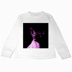 Pink Sphynx Cat Kids Long Sleeve T Shirts by Valentinaart