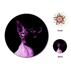 Pink Sphynx Cat Playing Cards (round)  by Valentinaart