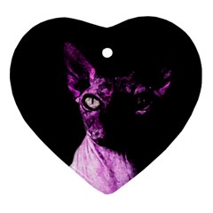 Pink Sphynx Cat Heart Ornament (two Sides) by Valentinaart