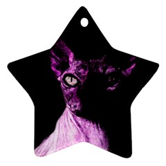 Pink Sphynx Cat Star Ornament (two Sides) by Valentinaart