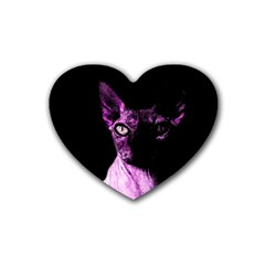 Pink Sphynx Cat Heart Coaster (4 Pack)  by Valentinaart