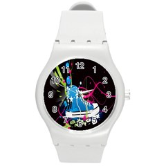 Sneakers Shoes Patterns Bright Round Plastic Sport Watch (m) by Simbadda
