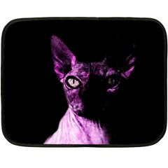 Pink Sphynx Cat Double Sided Fleece Blanket (mini)  by Valentinaart
