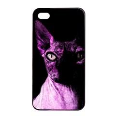 Pink Sphynx Cat Apple Iphone 4/4s Seamless Case (black) by Valentinaart