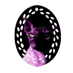 Pink Sphynx Cat Oval Filigree Ornament (two Sides) by Valentinaart