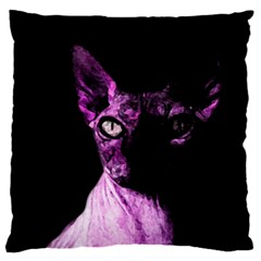 Pink Sphynx Cat Large Cushion Case (one Side) by Valentinaart