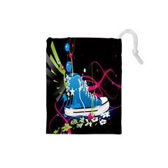 Sneakers Shoes Patterns Bright Drawstring Pouches (small)  by Simbadda