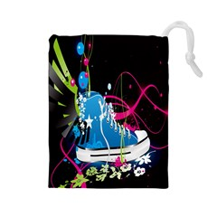 Sneakers Shoes Patterns Bright Drawstring Pouches (large)  by Simbadda