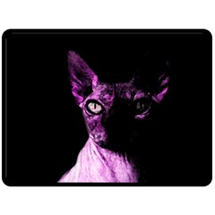 Pink Sphynx Cat Double Sided Fleece Blanket (large)  by Valentinaart