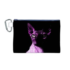 Pink Sphynx Cat Canvas Cosmetic Bag (m) by Valentinaart