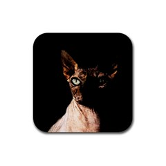 Sphynx Cat Rubber Coaster (square)  by Valentinaart