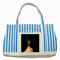 Sphynx Cat Striped Blue Tote Bag by Valentinaart