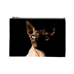 Sphynx Cat Cosmetic Bag (large)  by Valentinaart
