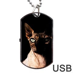 Sphynx Cat Dog Tag Usb Flash (one Side) by Valentinaart