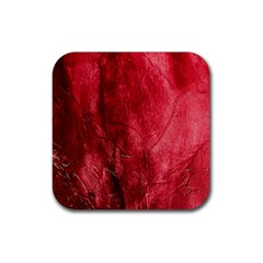 Red Background Texture Rubber Coaster (square)  by Simbadda