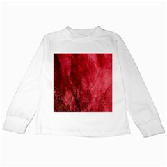 Red Background Texture Kids Long Sleeve T Shirts by Simbadda