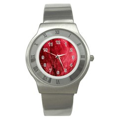 Red Background Texture Stainless Steel Watch by Simbadda