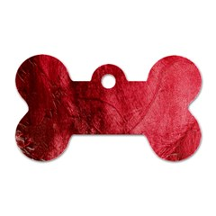 Red Background Texture Dog Tag Bone (one Side) by Simbadda