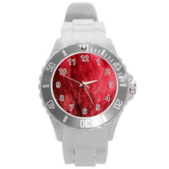 Red Background Texture Round Plastic Sport Watch (l) by Simbadda