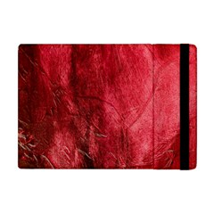 Red Background Texture Apple Ipad Mini Flip Case by Simbadda