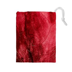 Red Background Texture Drawstring Pouches (large)  by Simbadda
