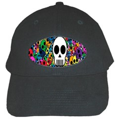 Skull Background Bright Multi Colored Black Cap by Simbadda