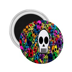 Skull Background Bright Multi Colored 2 25  Magnets by Simbadda