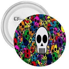 Skull Background Bright Multi Colored 3  Buttons by Simbadda