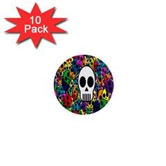 Skull Background Bright Multi Colored 1  Mini Buttons (10 Pack)  by Simbadda