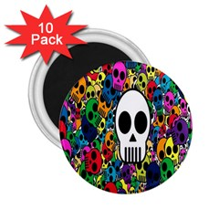 Skull Background Bright Multi Colored 2 25  Magnets (10 Pack)  by Simbadda