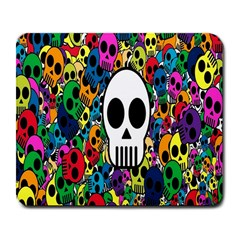 Skull Background Bright Multi Colored Large Mousepads by Simbadda